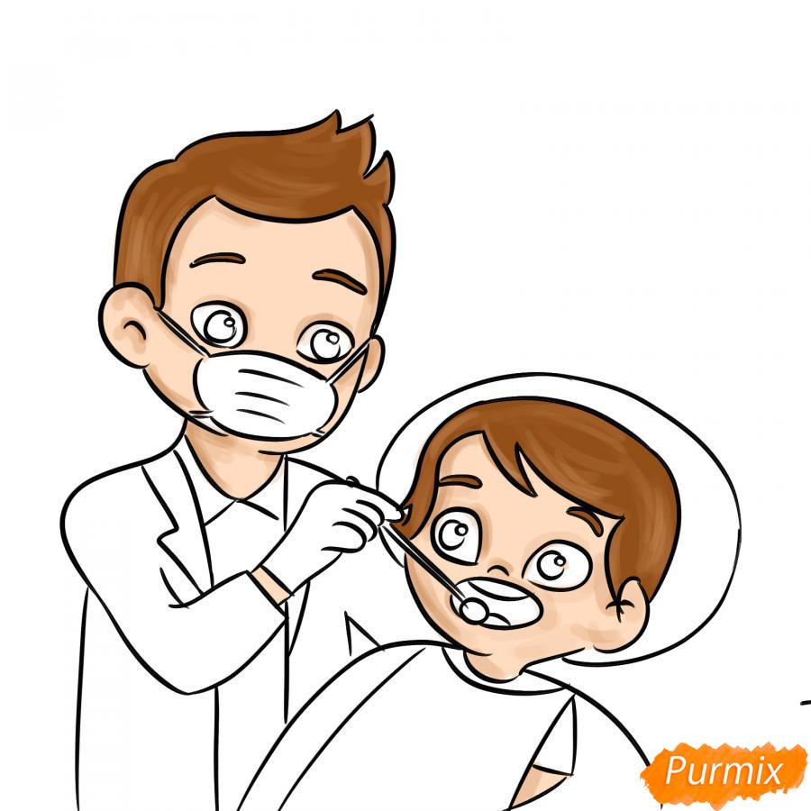 Рисуем стоматолога - шаг 6