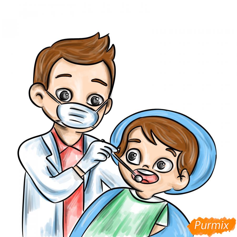 Рисуем стоматолога - шаг 9