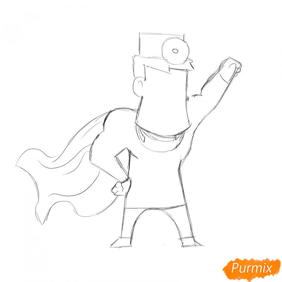 Рисуем стоматолога супергероя - шаг 4