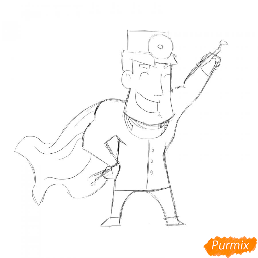 Рисуем стоматолога супергероя - шаг 5