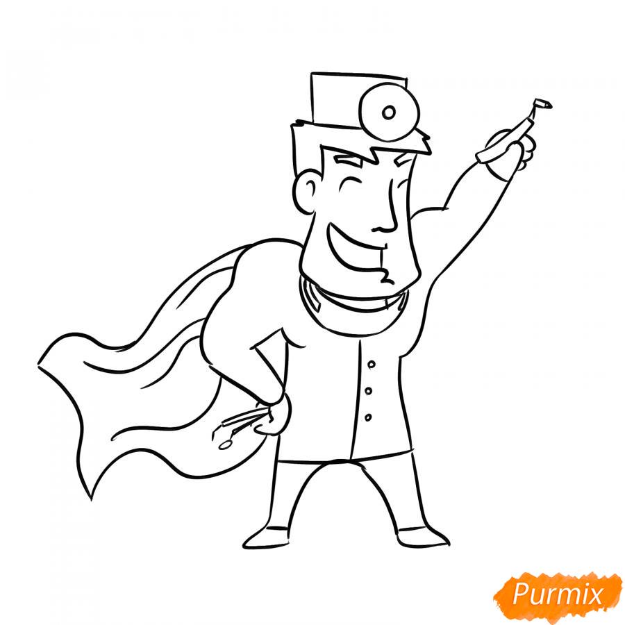 Рисуем стоматолога супергероя - шаг 6