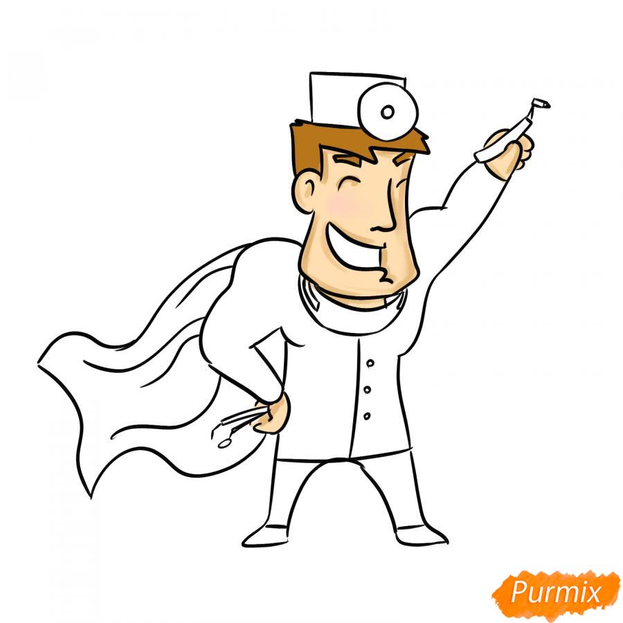Рисуем стоматолога супергероя - шаг 7