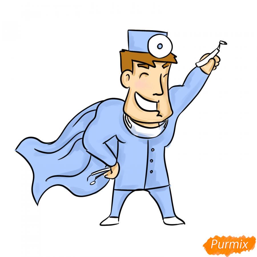 Рисуем стоматолога супергероя - шаг 8