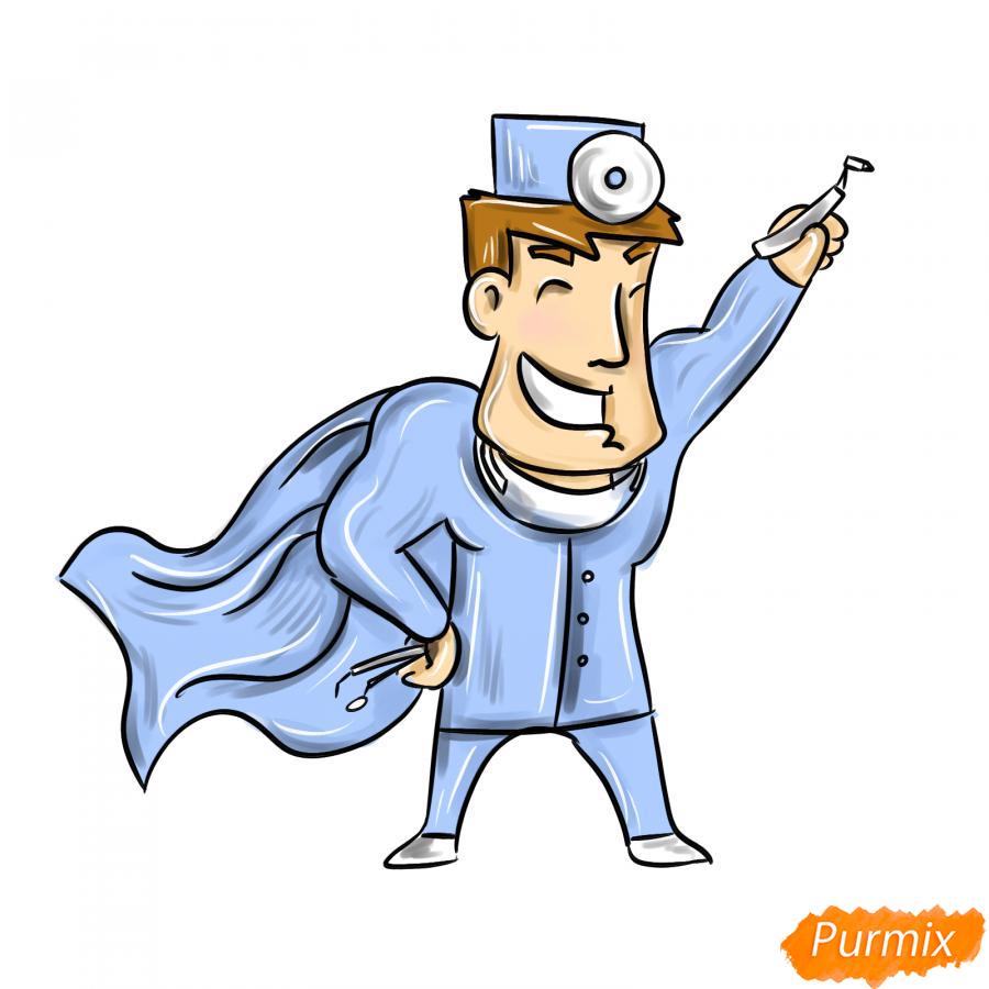 Рисуем стоматолога супергероя - шаг 9