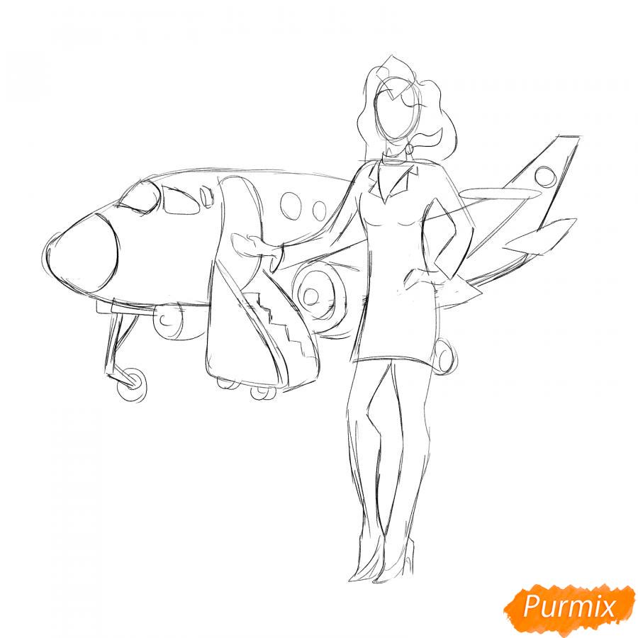 Рисуем стюардессу на фоне самолета - шаг 3