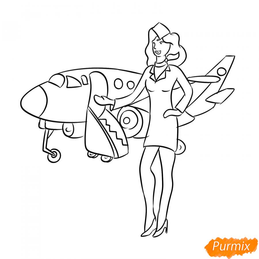 Рисуем стюардессу на фоне самолета - шаг 5