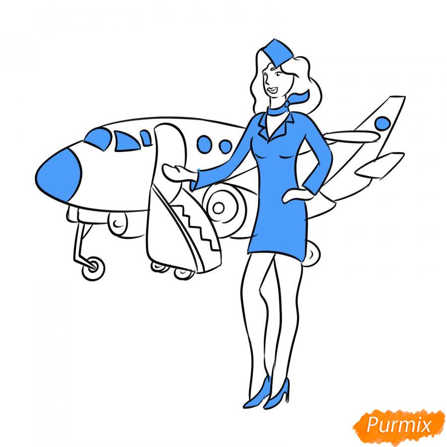 Рисуем стюардессу на фоне самолета - шаг 6
