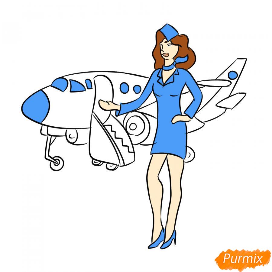 Рисуем стюардессу на фоне самолета - шаг 7