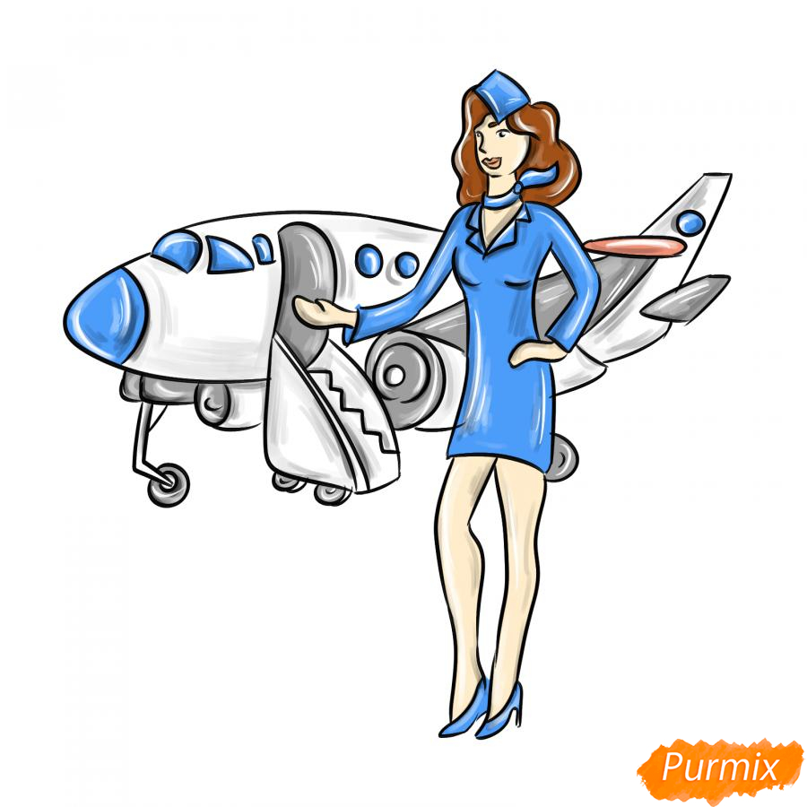 Рисуем стюардессу на фоне самолета - шаг 8