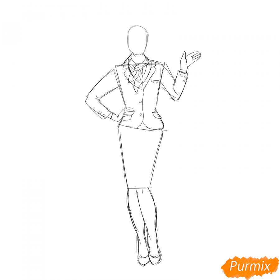 Рисуем стюардессу карандашами - шаг 3