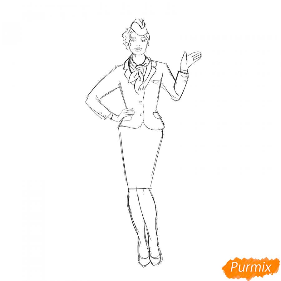 Рисуем стюардессу карандашами - шаг 5