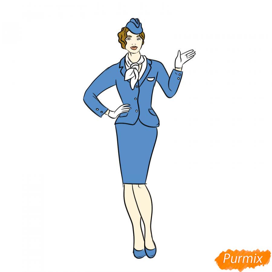 Рисуем стюардессу карандашами - шаг 8