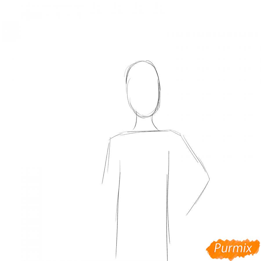 Рисуем стюардессу в самолете - шаг 1