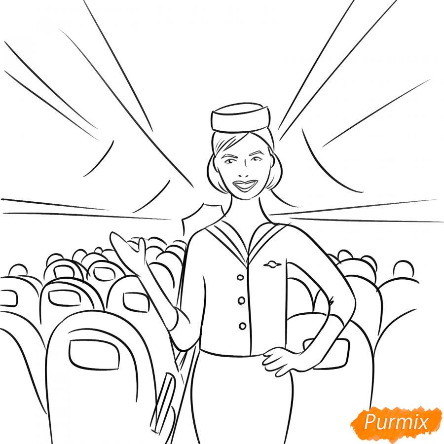 Рисуем стюардессу в самолете - шаг 5