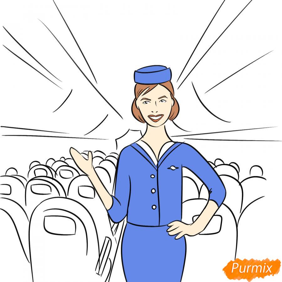 Рисуем стюардессу в самолете - шаг 7