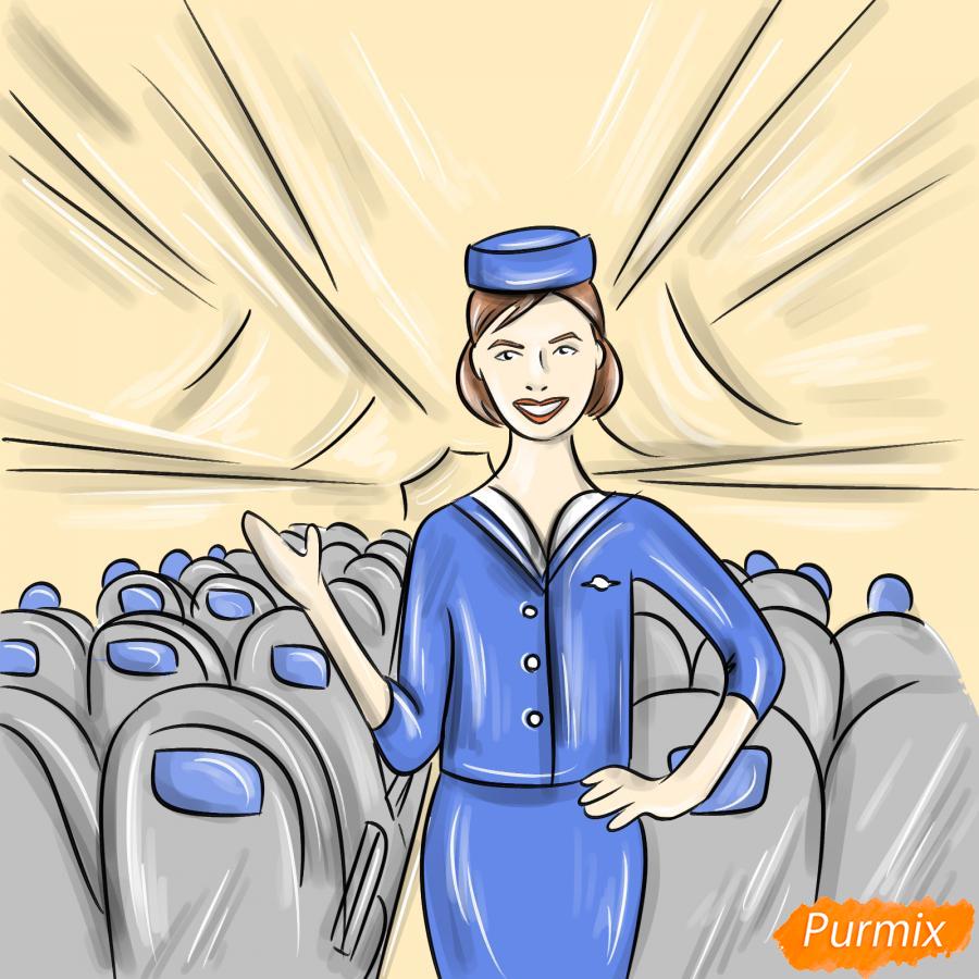 Рисуем стюардессу в самолете - шаг 9