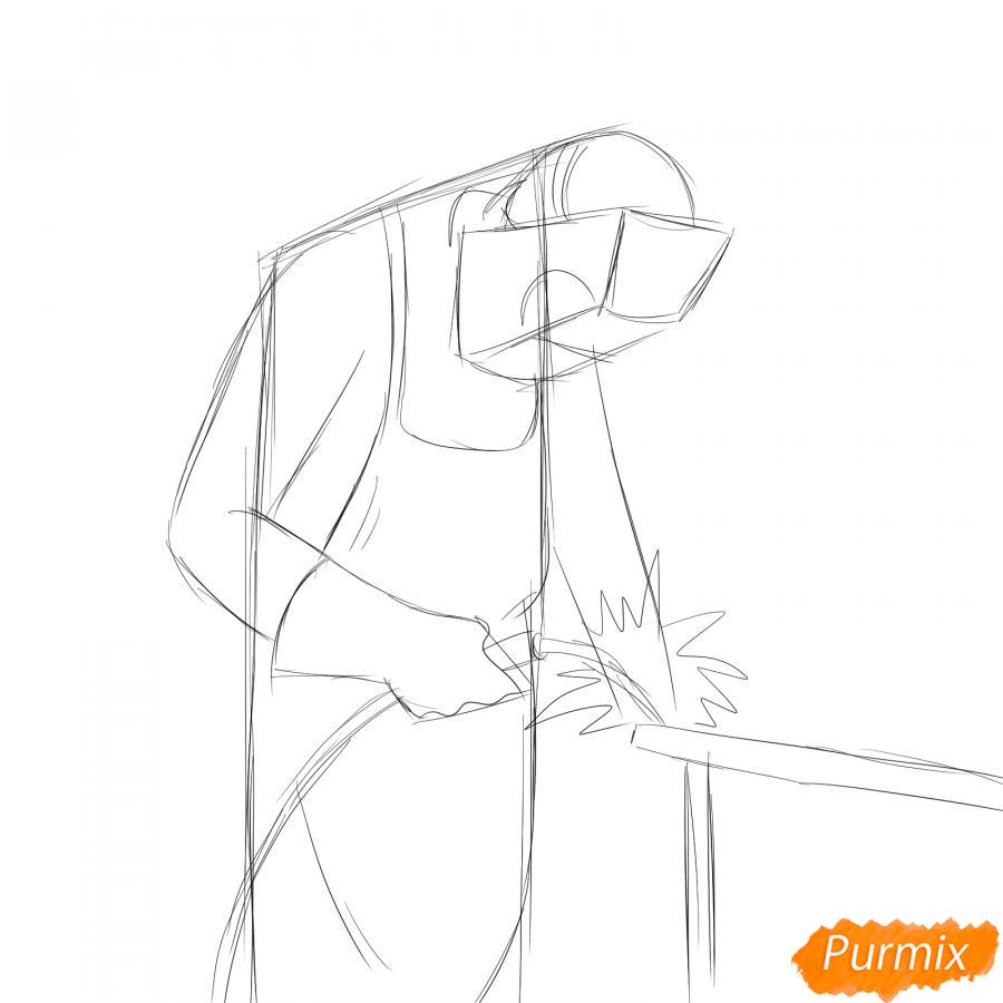 Рисуем сварщика за работой - шаг 4