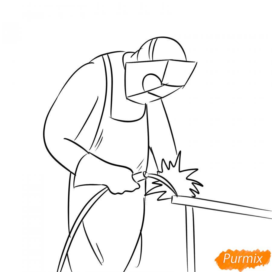 Рисуем сварщика за работой - шаг 5
