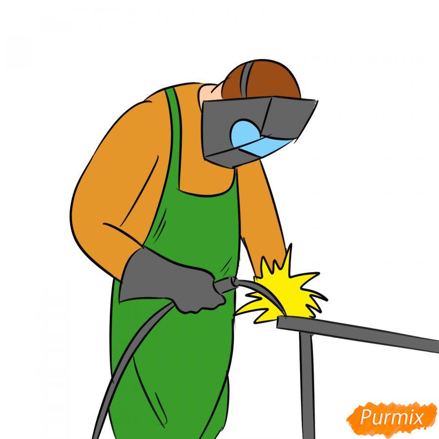 Рисуем сварщика за работой - шаг 8