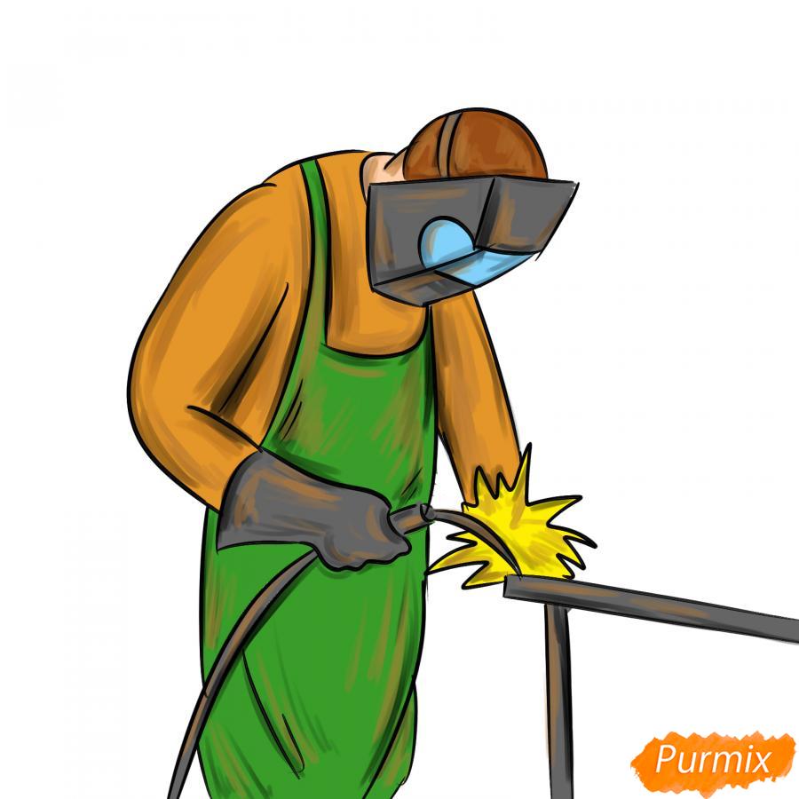 Рисуем сварщика за работой - шаг 9