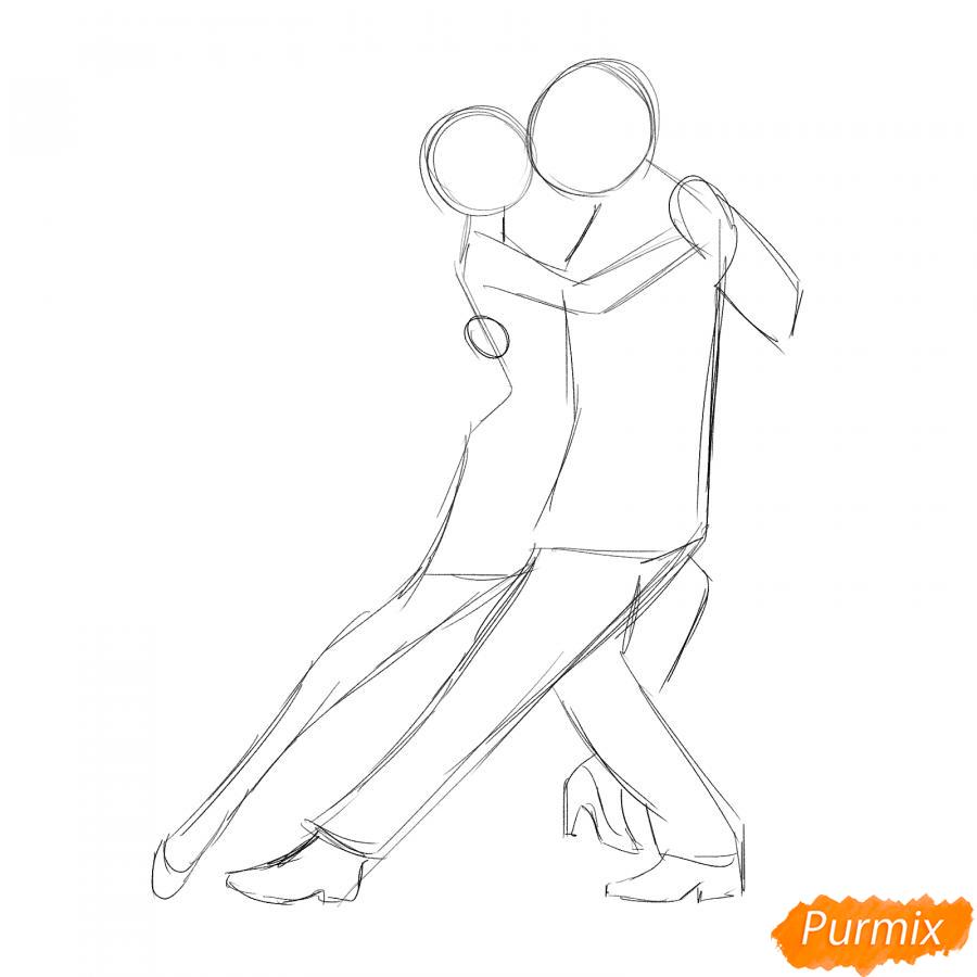 Рисуем танцующих людей карандашами - шаг 2