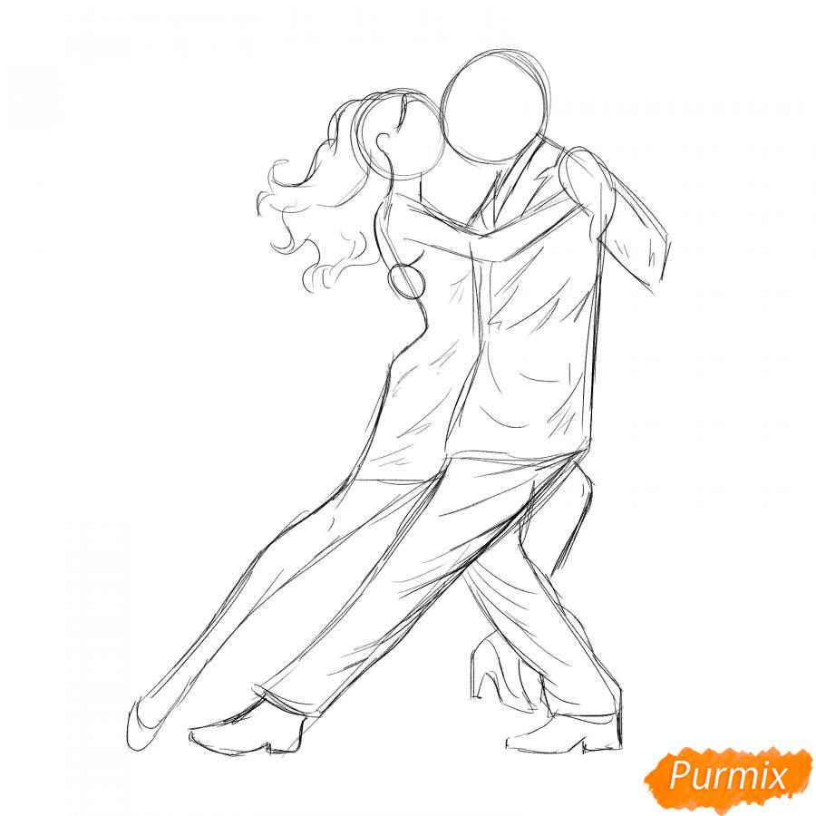 Рисуем танцующих людей карандашами - шаг 3