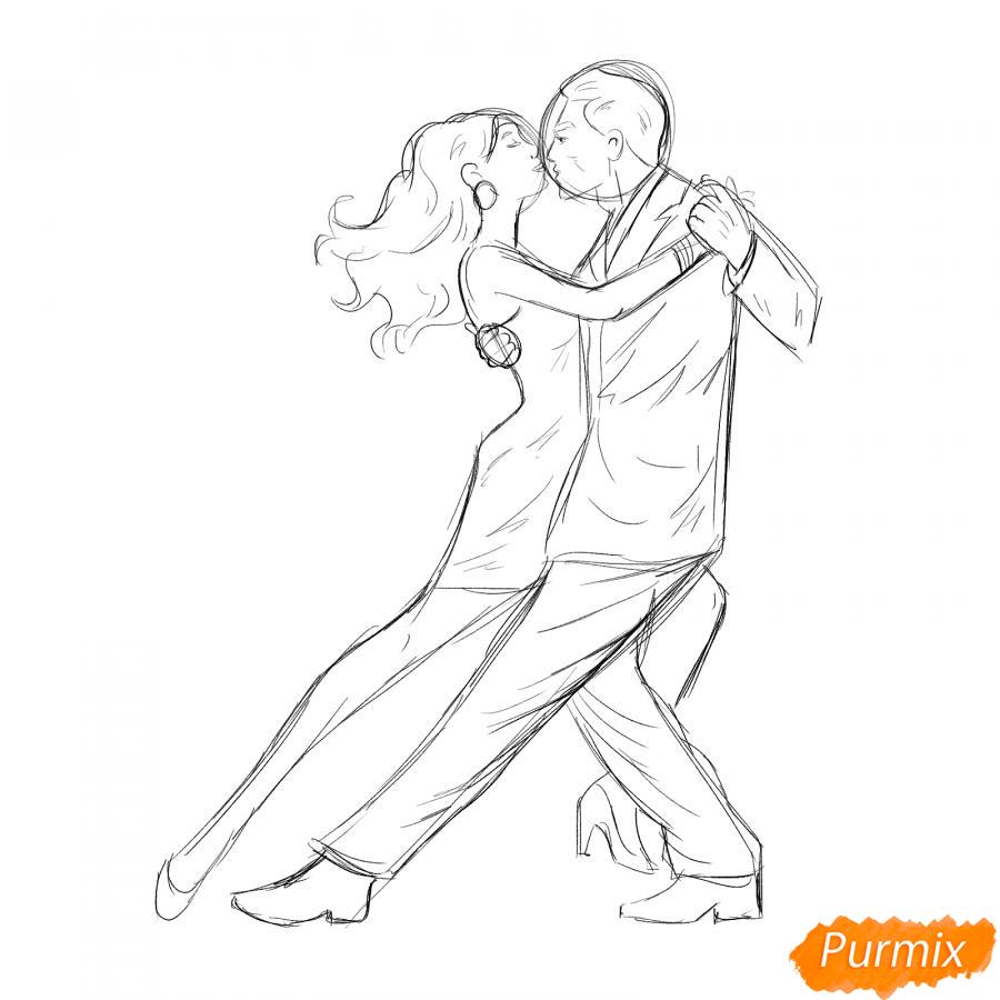 Рисуем танцующих людей карандашами - шаг 4