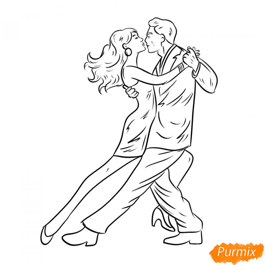 Рисуем танцующих людей карандашами - шаг 5