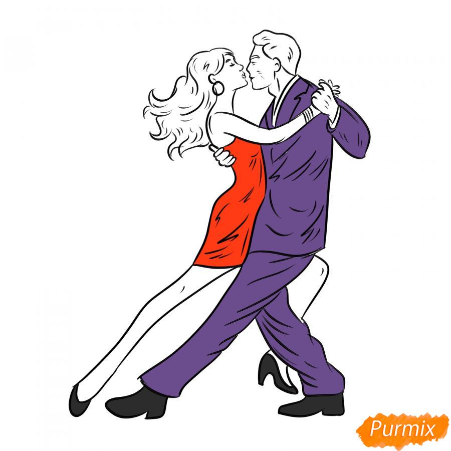 Рисуем танцующих людей карандашами - шаг 6