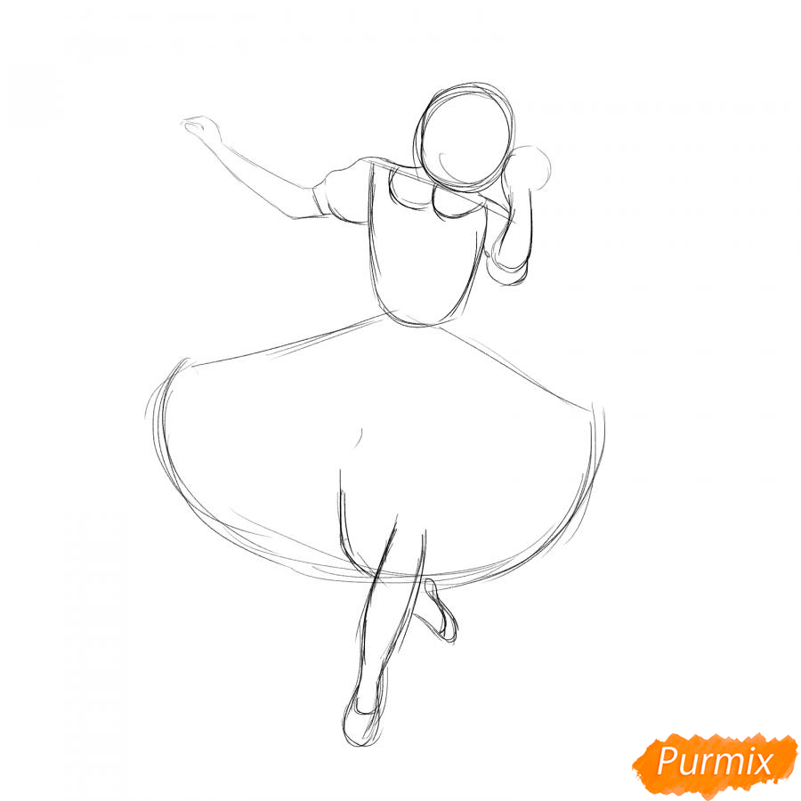 Рисуем танцующую девушку - шаг 2