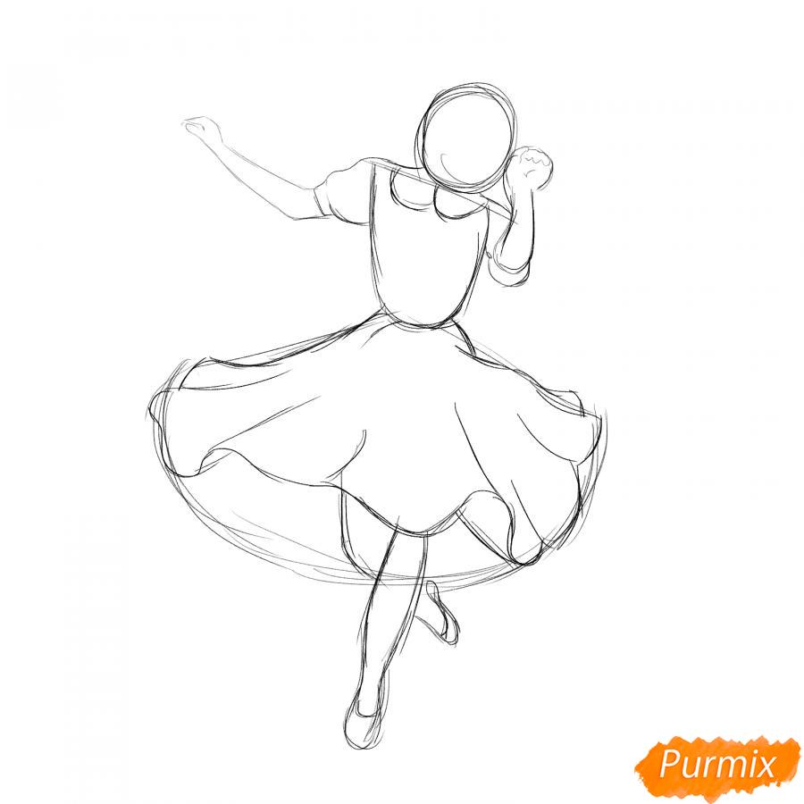 Рисуем танцующую девушку - шаг 3