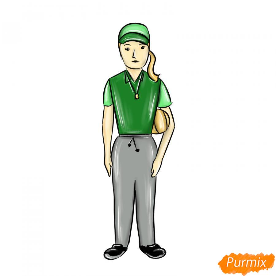 Рисуем учительницу по физкультуре - шаг 10