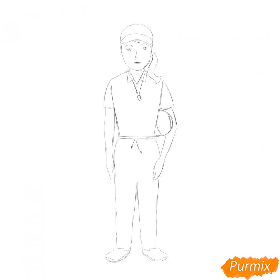 Рисуем учительницу по физкультуре - шаг 5