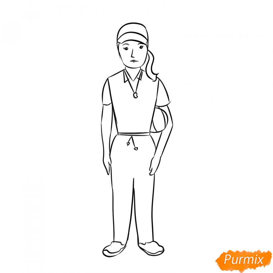 Рисуем учительницу по физкультуре - шаг 6