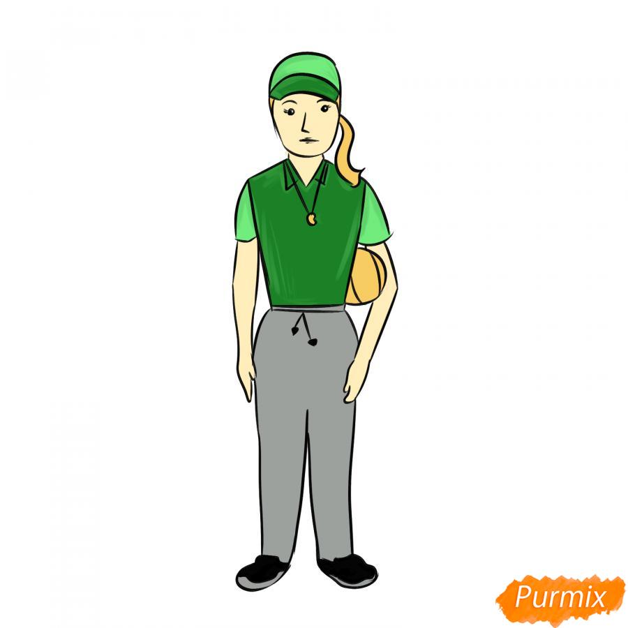 Рисуем учительницу по физкультуре - шаг 9