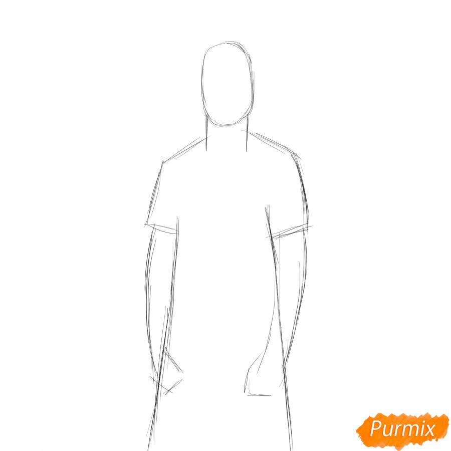 Рисуем учителя по физкультуре - шаг 2