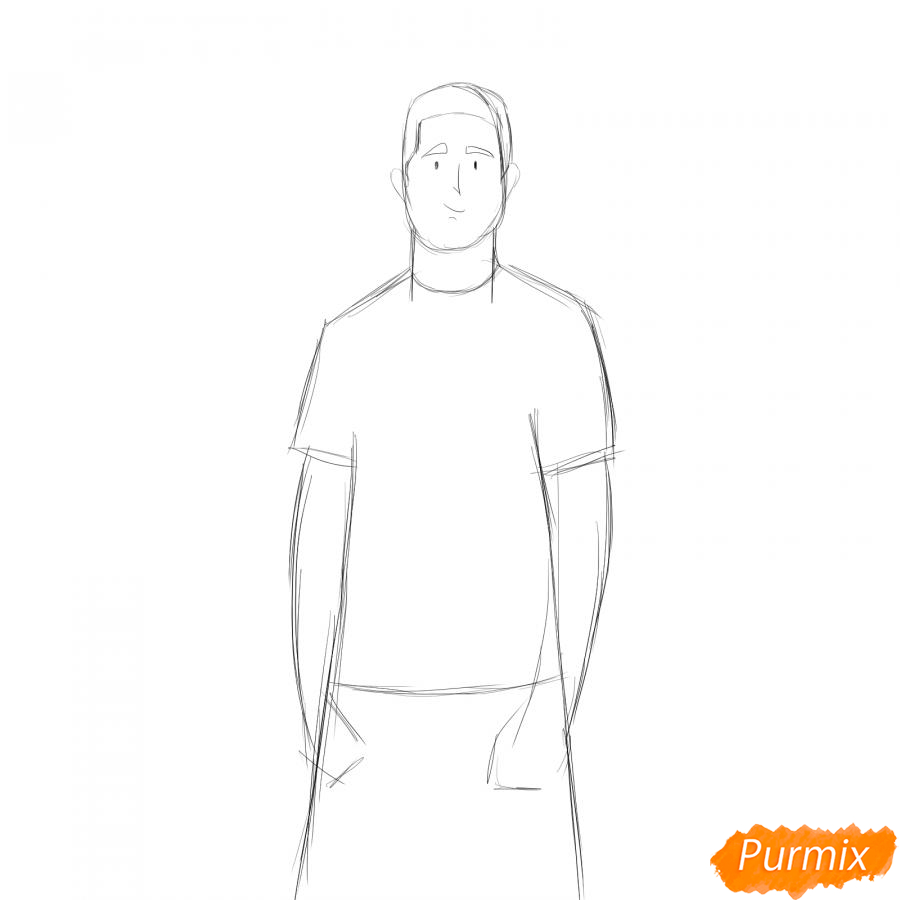 Рисуем учителя по физкультуре - шаг 3