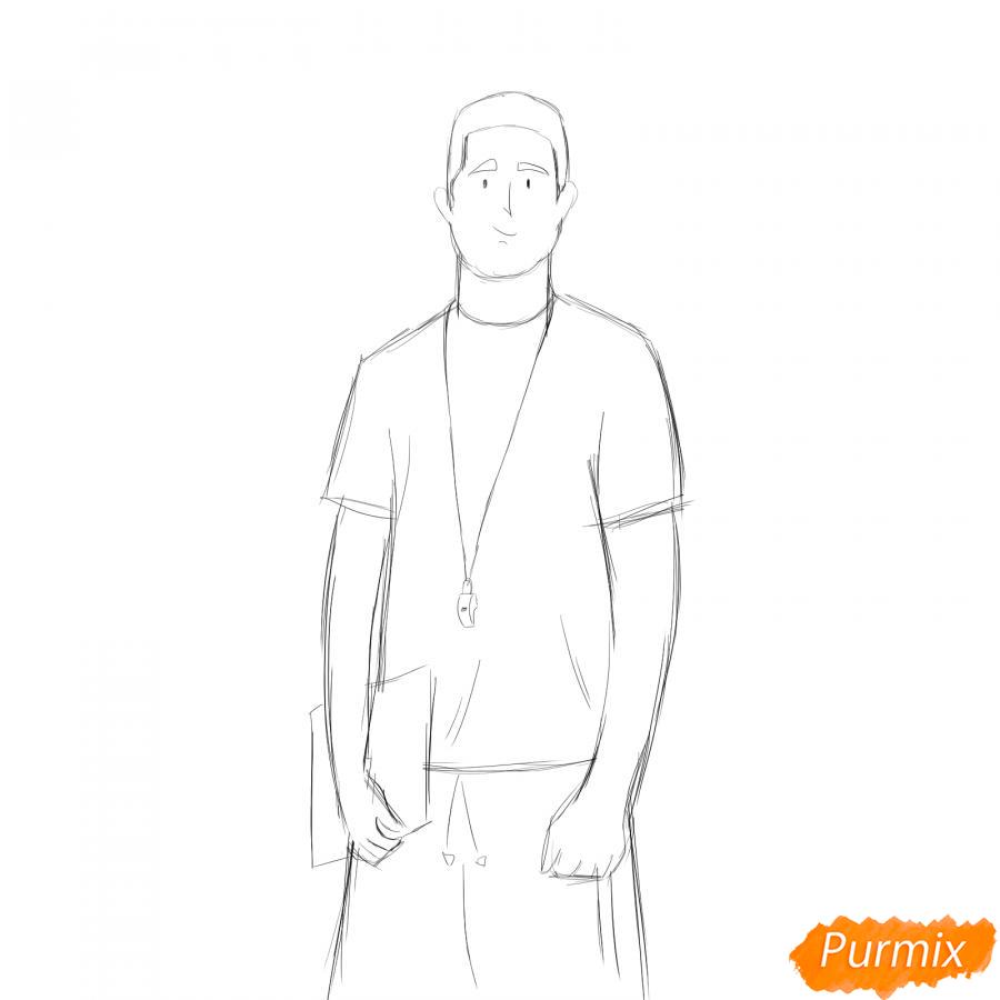 Рисуем учителя по физкультуре - шаг 4