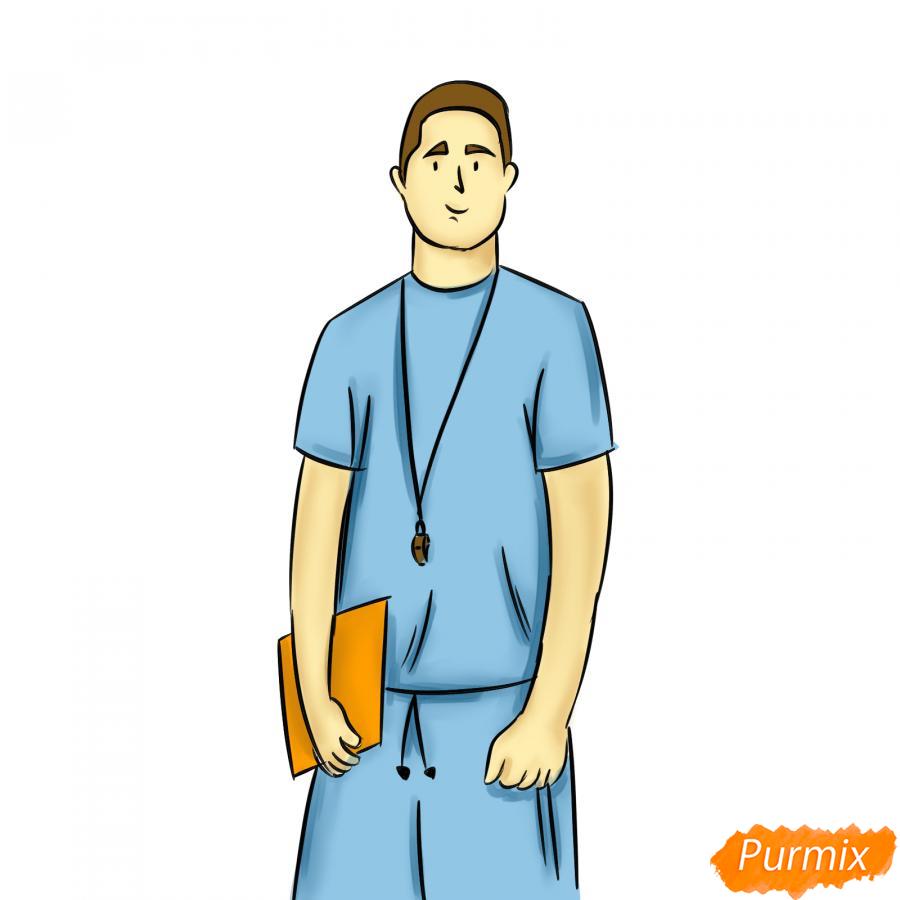 Рисуем учителя по физкультуре - шаг 8