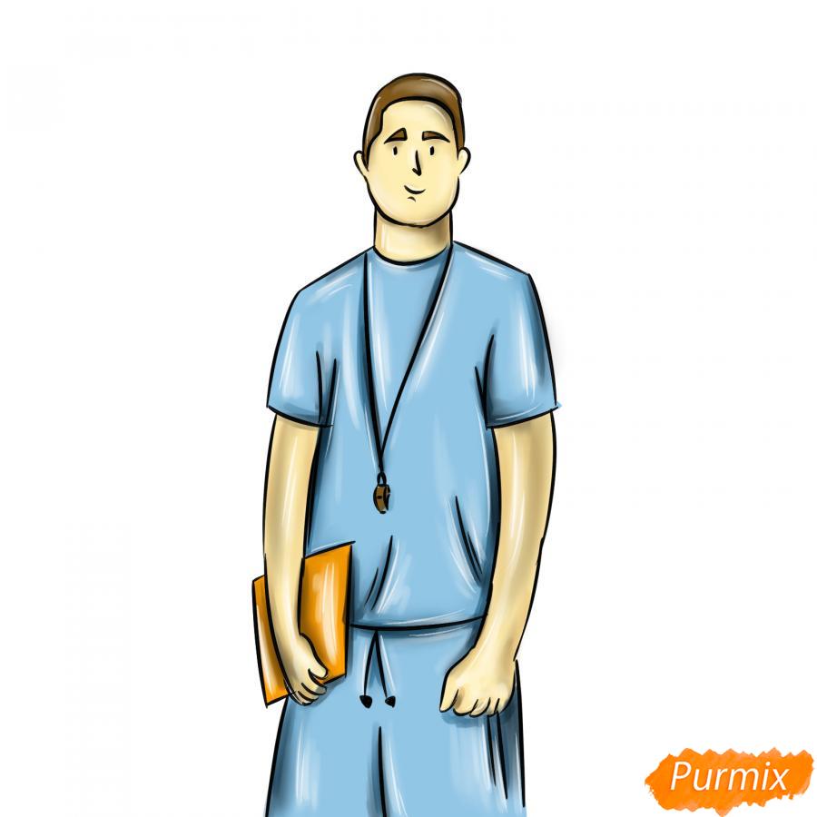 Рисуем учителя по физкультуре - шаг 9