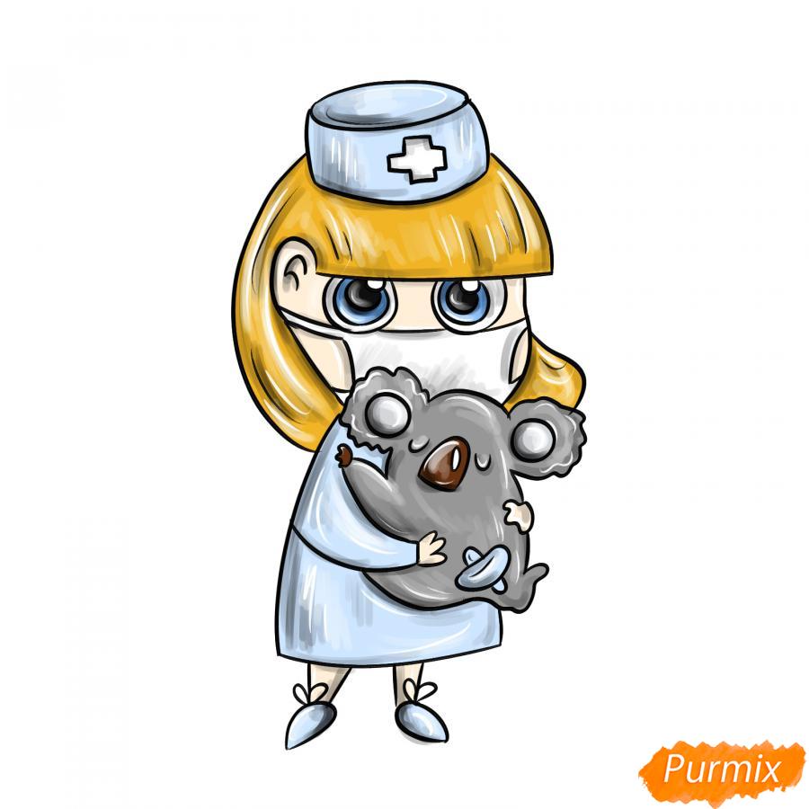 Рисуем ветеринара девушку c коалой - шаг 10