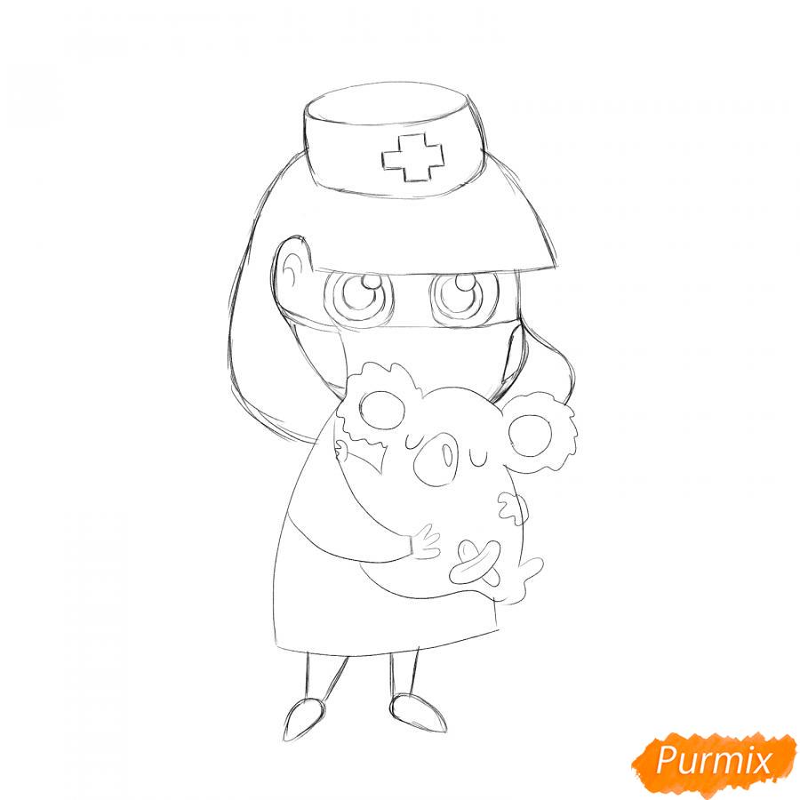 Рисуем ветеринара девушку c коалой - шаг 4