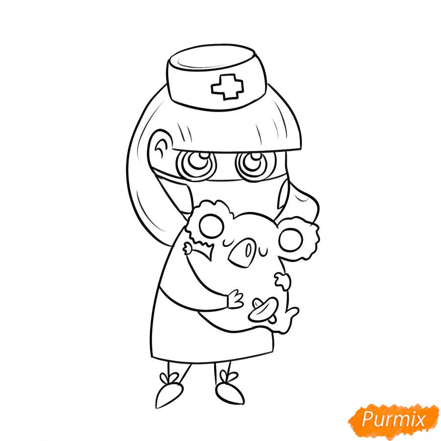 Рисуем ветеринара девушку c коалой - шаг 5