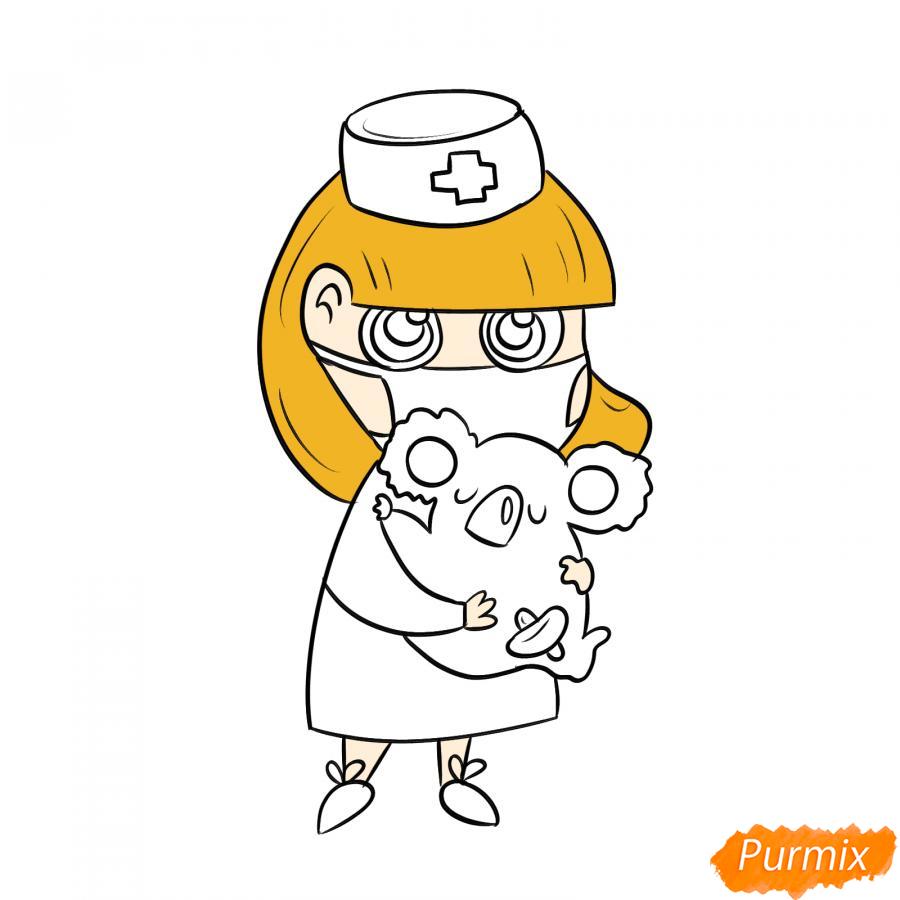Рисуем ветеринара девушку c коалой - шаг 6