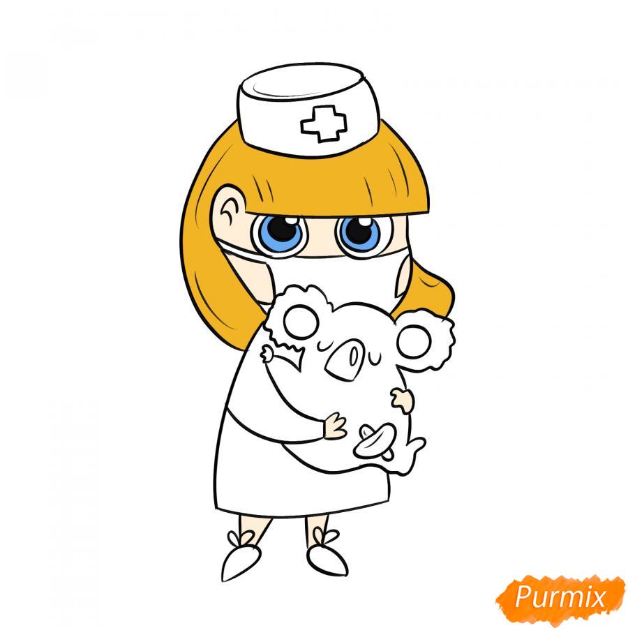 Рисуем ветеринара девушку c коалой - шаг 7