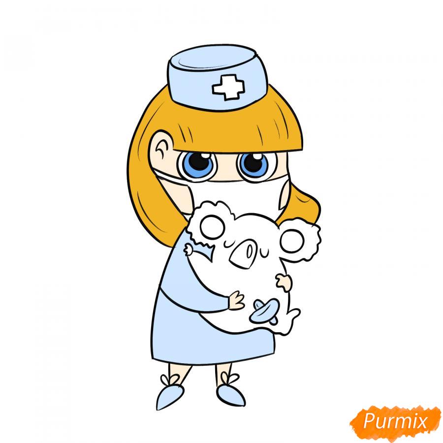 Рисуем ветеринара девушку c коалой - шаг 8