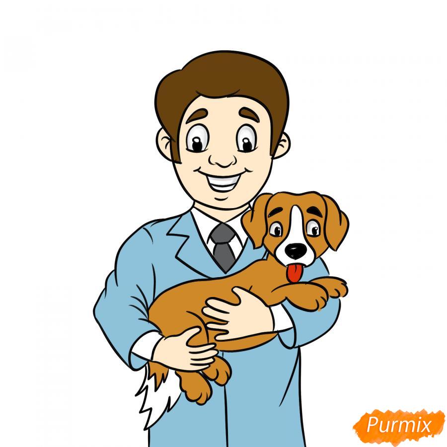 Рисуем ветеринара карандашами - шаг 10