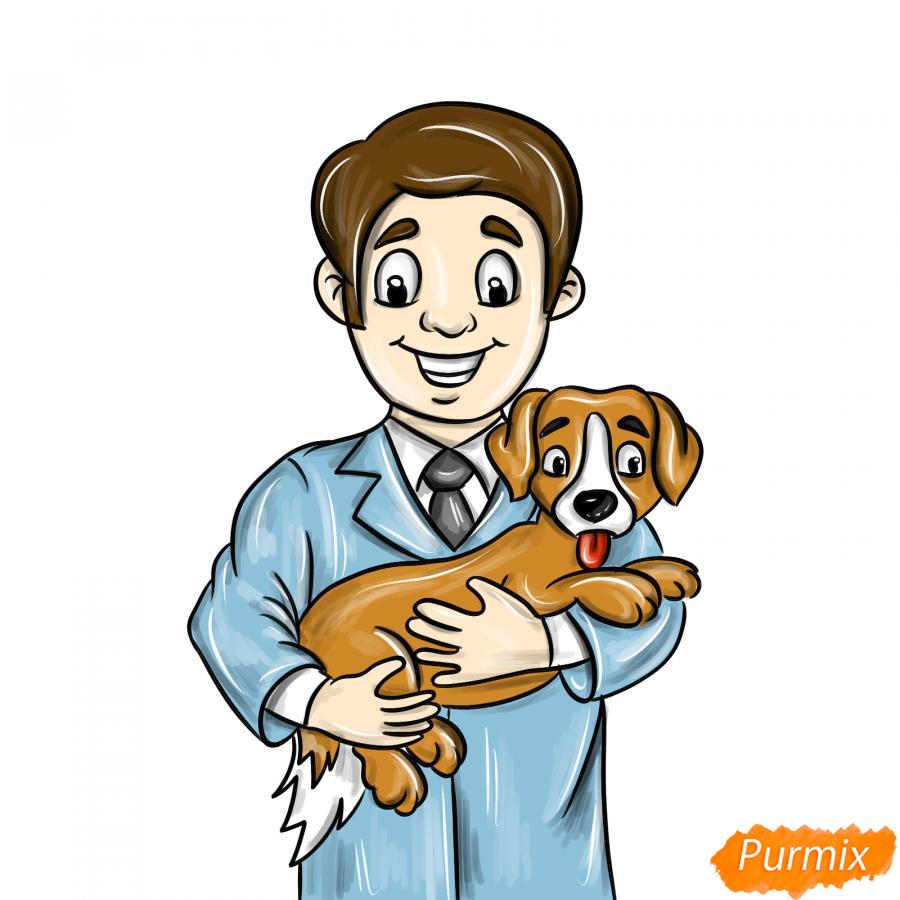 Рисуем ветеринара карандашами - шаг 11