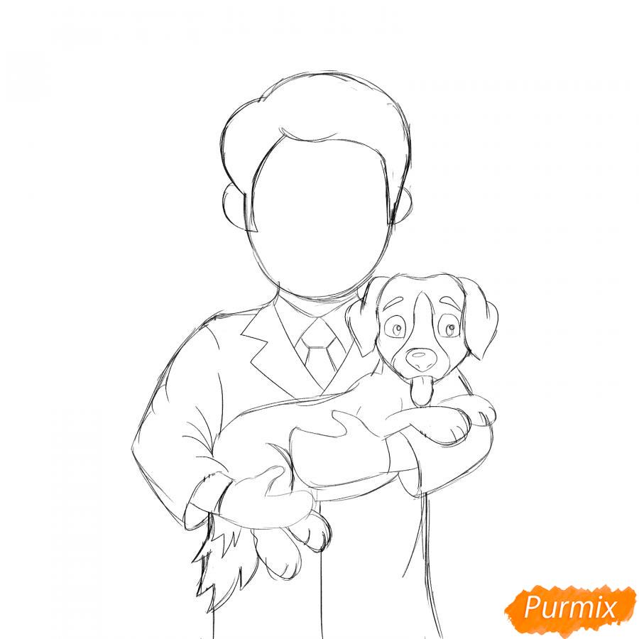 Рисуем ветеринара карандашами - шаг 4