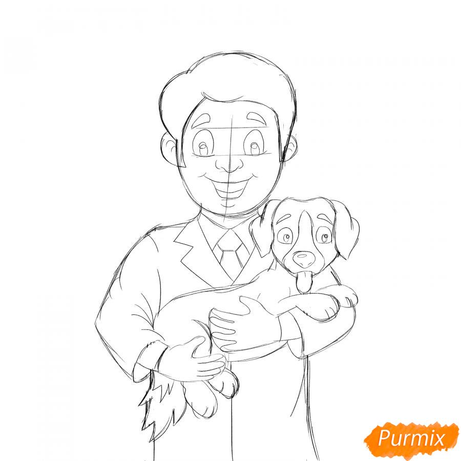 Рисуем ветеринара карандашами - шаг 6